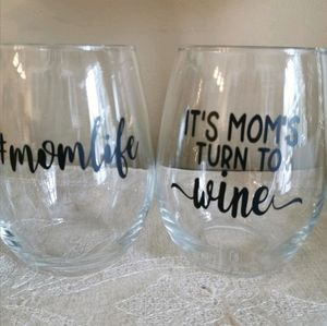 "Other - 2 ""mom"" themed stemless wine glasses"